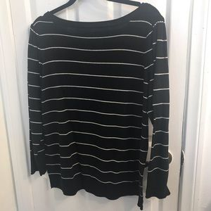 Sweaters - Plus size Striped Black and White Pullover Sweater
